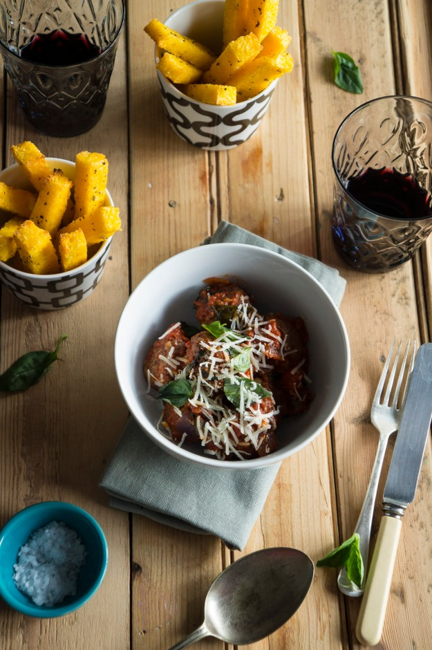 Ostrich Meatballs with Polenta Parmesan Chips