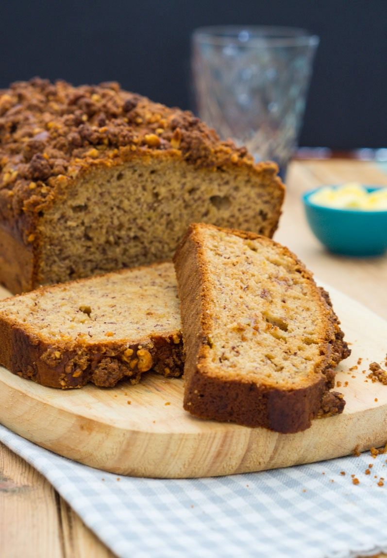 Peanut Butter Banana Bread with Peanut Streusel